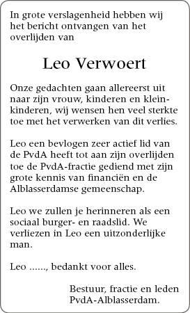 overlijden Leo Verwoert